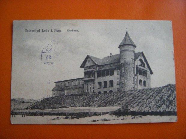 Hotel Neptun w Łebie z 1907 roku, czynny do dzisiaj. Zdjęcie z 1913 roku.