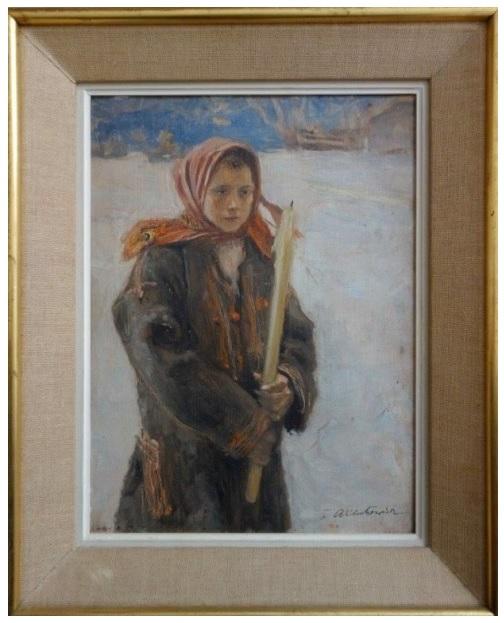 """Teodor Axentowicz, """"Na gromniczną""""."""