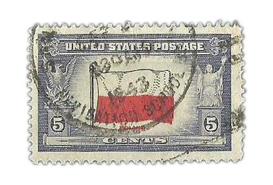 Znaczek pocztowy Stanów Zjednoczonych z polską flagą z 1943 roku z serii (nr kat Mi.459-471) z flagami państw okupowanych przez państwa Osi.