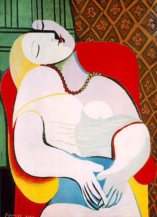 """Pablo Picasso, """"Sen"""", 1932 r. - obraz przedziurawiony łokciem przez właściciela."""