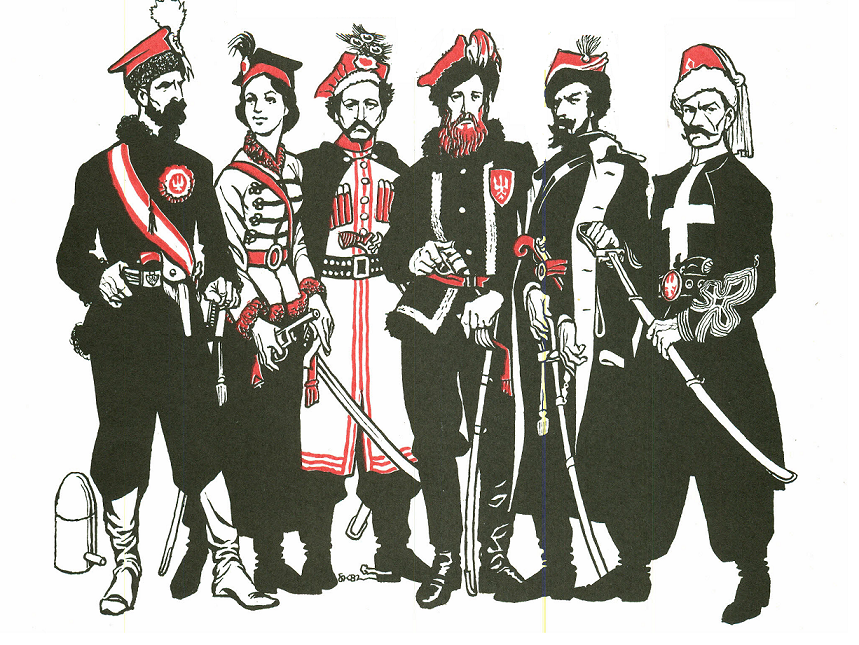 """Powstańcy z 1863 roku na ilustracji pochodzącej z książki pt. """"Szymona Kobylińskiego gawędy o broni i mundurze"""". Trzy z sześciu postaci posiadają rewolwery!"""