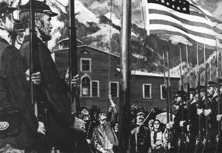 Alaska, Sitka 9 października 1867 r. Benjamin Levi wciąga na maszt flagę Stanów Zjednoczonych. Źródło: Alaska Historical Library.